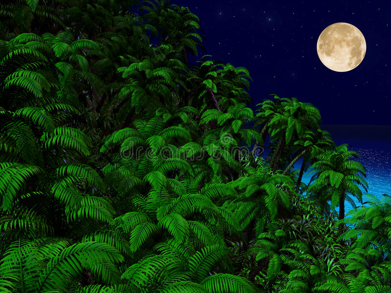 Tropikalni drzewka palmowe i ocean przy nocą ilustracji