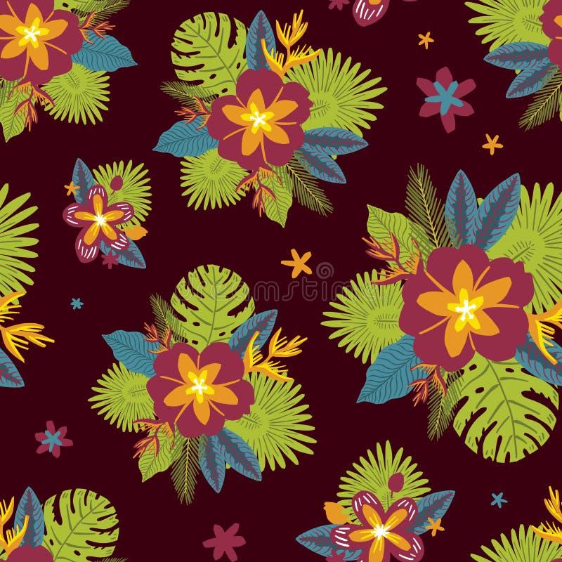 Tropikalni egzotów kwiaty, rośliny i Bezszwowy wz?r na ciemnym tle royalty ilustracja