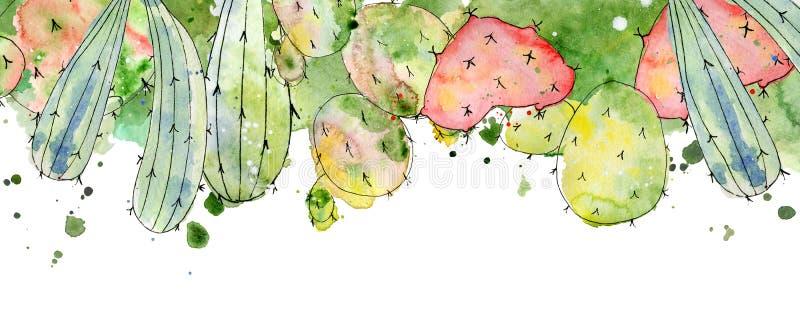 Tropikalni kaktusowi przygotowania, granicy, ramy akwareli kaktusów druk ilustracji