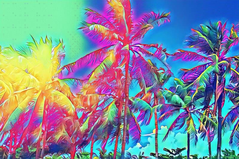 tropikalni krajobrazowi drzewka palmowe Tropikalnej natury neonowa cyfrowa ilustracja royalty ilustracja