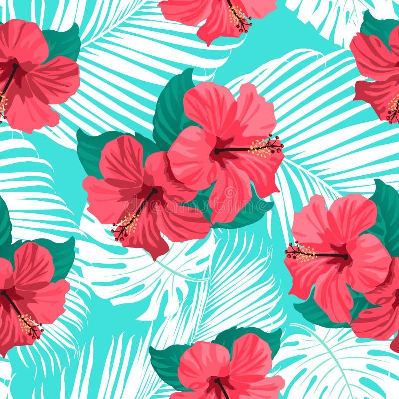 Tropikalni kwiaty i palma liście na tle bezszwowy royalty ilustracja