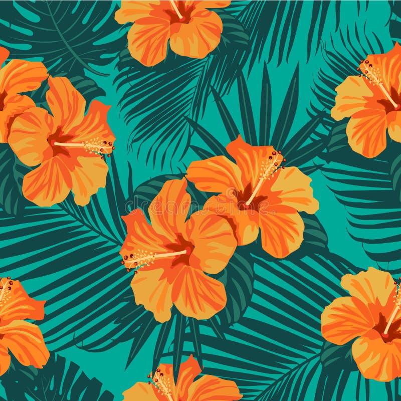 Tropikalni kwiaty i palma liście na tle bezszwowy kolorowych deseniowych planowanymi różnych możliwych wektora ilustracji