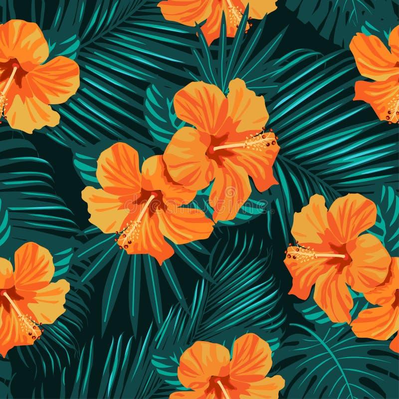 Tropikalni kwiaty i palma liście na tle bezszwowy kolorowych deseniowych planowanymi różnych możliwych wektora royalty ilustracja