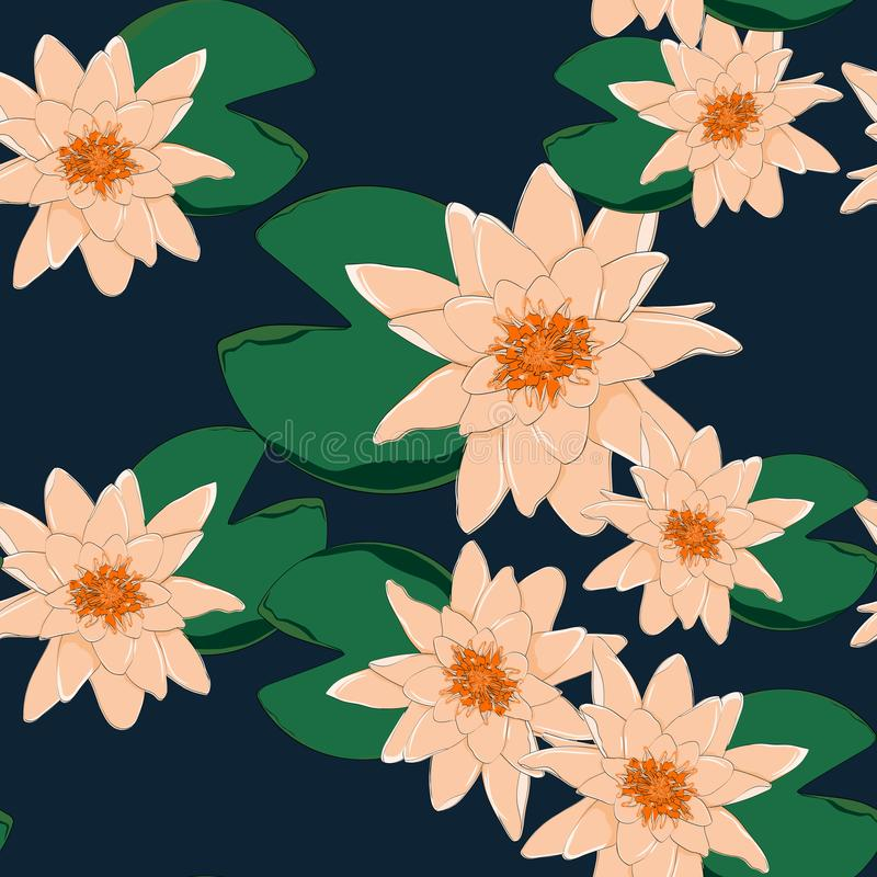 Tropikalni kwiaty, liście, pomarańczowy lotos, bezszwowy kwiecisty deseniowy tło ilustracja wektor