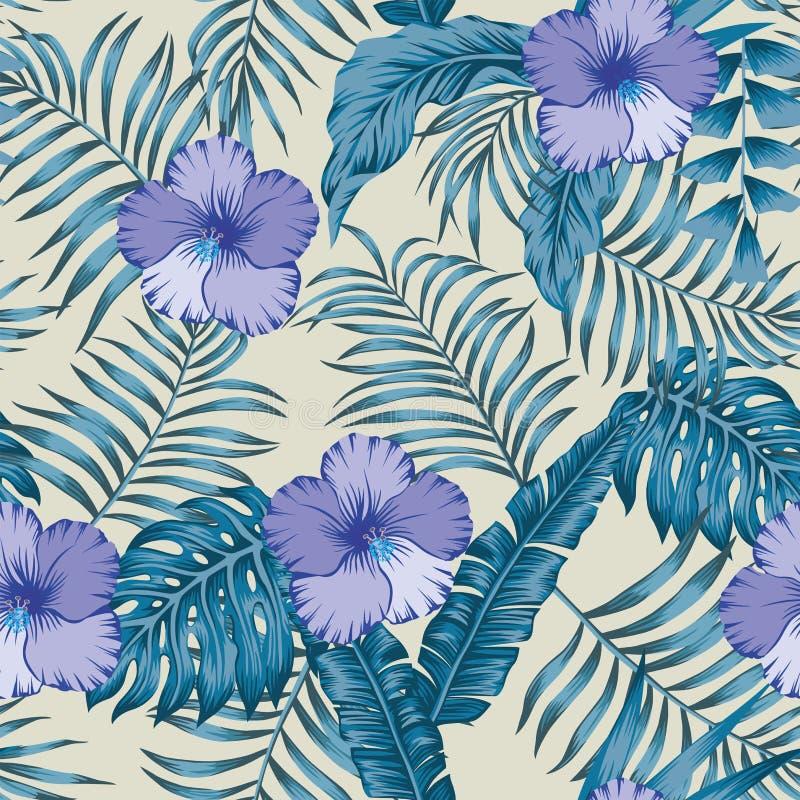 Tropikalni liście i poślubników błękitnych kolorów bezszwowy beżowy tło ilustracji