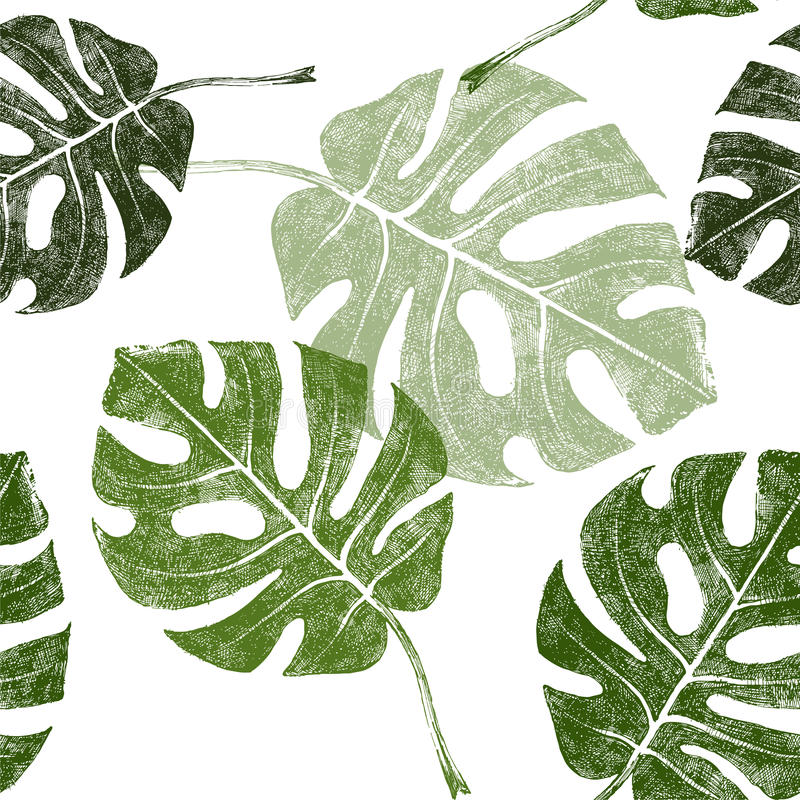 Tropikalni liście bezszwowi royalty ilustracja