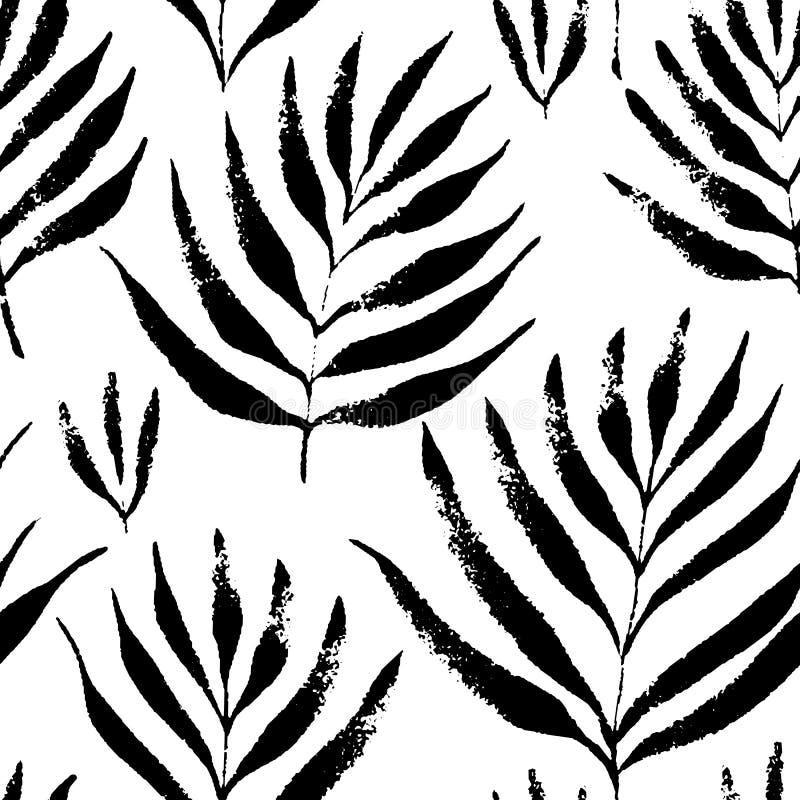 Tropikalni liście, dżungla wzór Bezszwowy, ręka rysująca, botaniczny wzór Wektorowy tło ilustracji