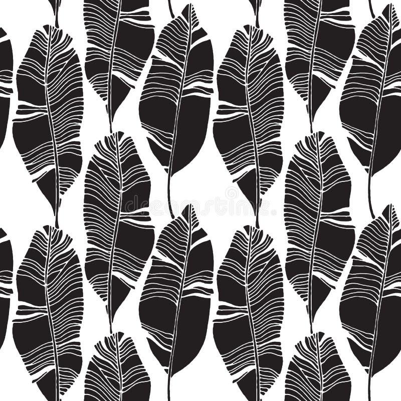Tropikalni liście, dżungla wzór Bezszwowy, szczegółowy, botaniczny wzór, Wektorowy tło ilustracja wektor