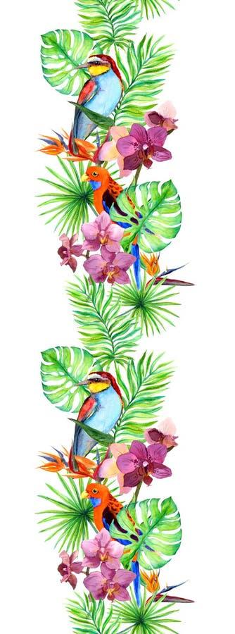 Tropikalni liście, egzotyczny ptak, orchidea kwitną rabatowy bezszwowy Akwarela lampas royalty ilustracja