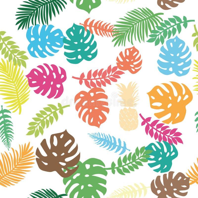 Tropikalni liście i ananas zdjęcia stock