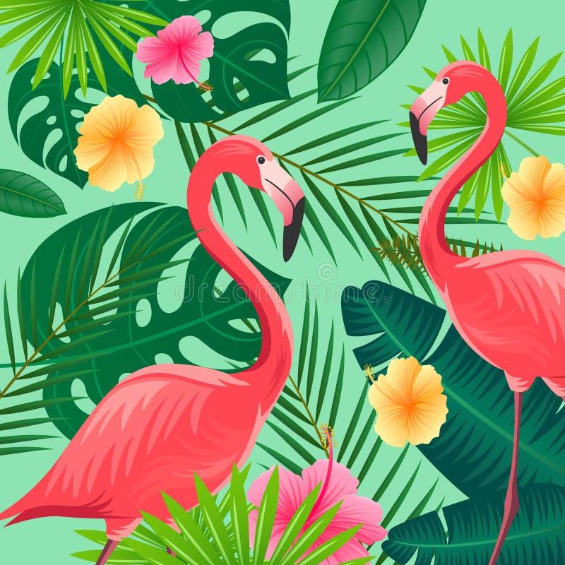 Tropikalni liście, kwiaty i flamingi, ilustracja wektor