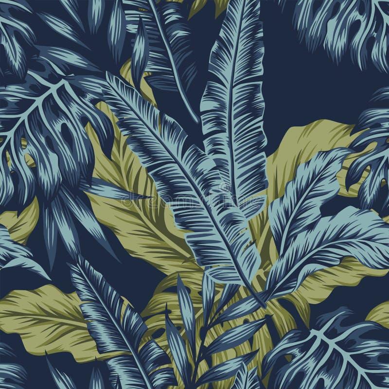 Tropikalni liście zielenieją bezszwowego zmrok - błękitny tło ilustracja wektor