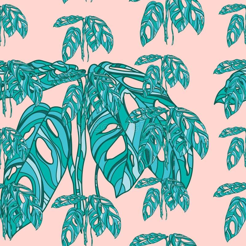 Tropikalni monstera liście na różowym tle ilustracji