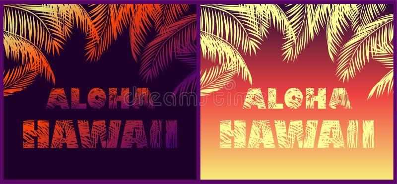Tropikalni neonowi tła z kwiecistymi Hawaje palmy, literowania liści sylwetkami dla Aloha i, royalty ilustracja