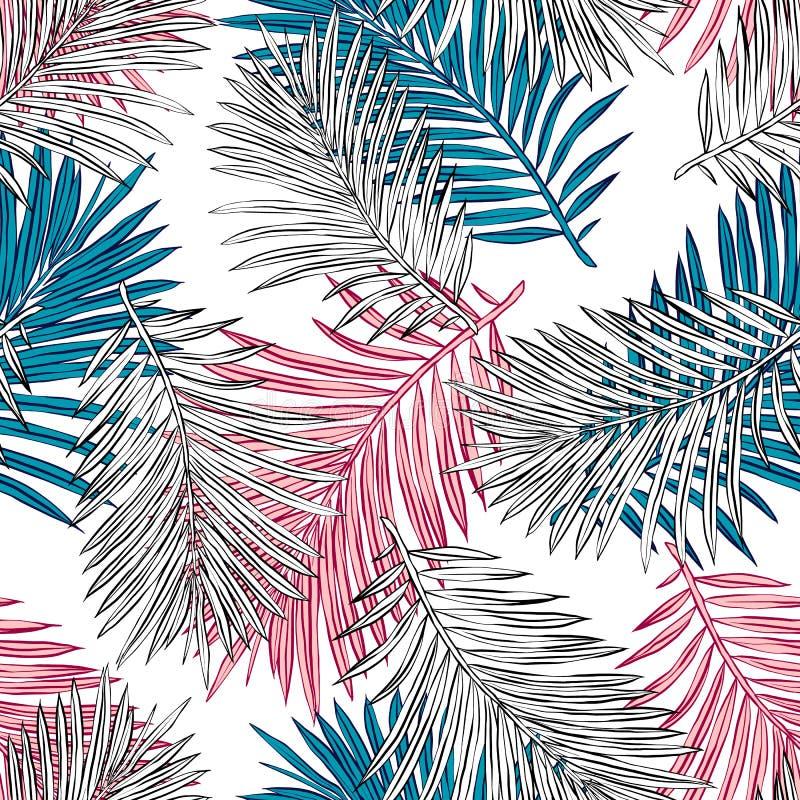 Tropikalni palma li?cie, d?ungla Opuszczaj? Bezszwowego Wektorowego Kwiecistego Deseniowego t?o ilustracja wektor