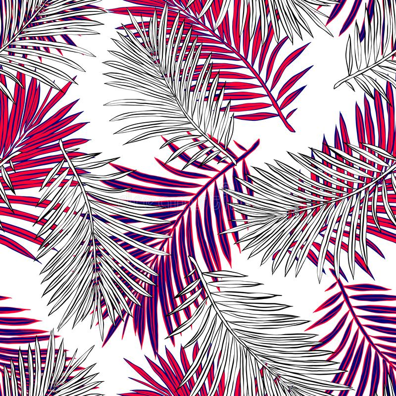Tropikalni palma li?cie, d?ungla Opuszczaj? Bezszwowego Wektorowego Kwiecistego Deseniowego t?o royalty ilustracja