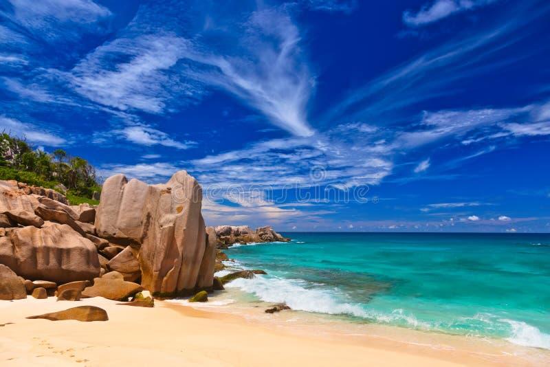 tropikalni plażowi Seychelles fotografia stock
