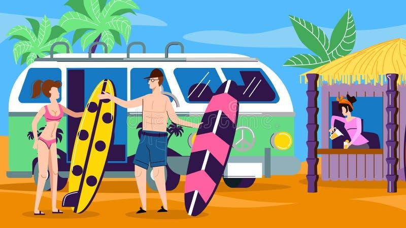 Tropikalni plaży przyjęcia ludzie Cieszy się lato czas royalty ilustracja