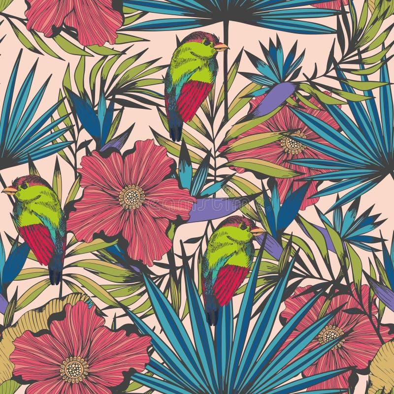 Tropikalni ptaki i rośliny Wektorowy bezszwowy ręcznie robiony wzór ilustracja wektor