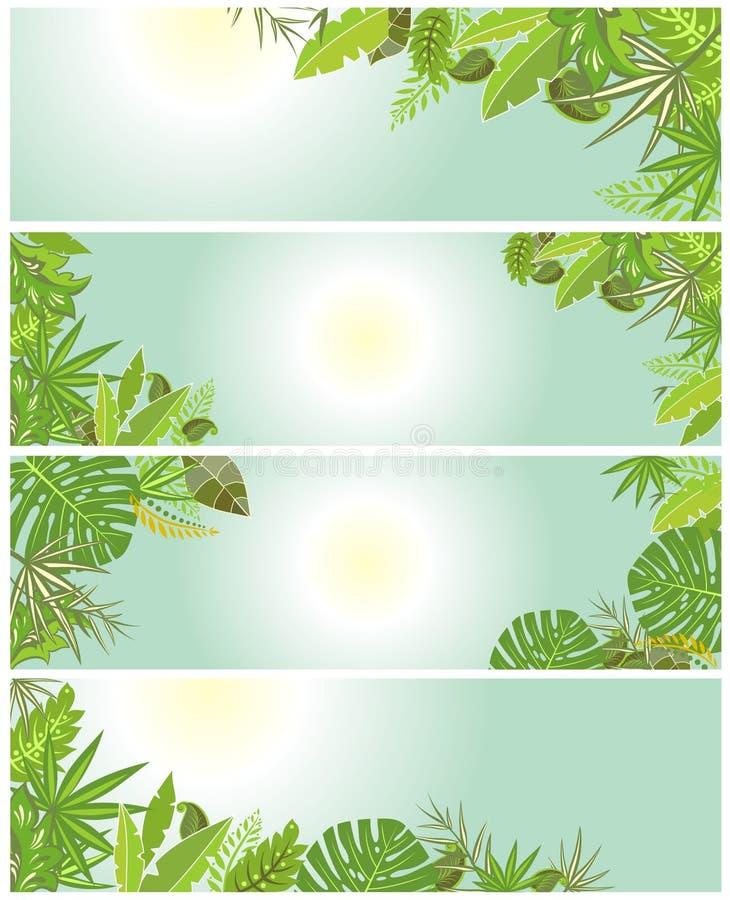 Tropikalni zieleni tła ilustracji