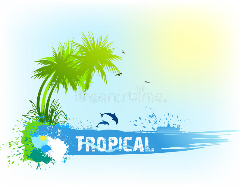 Tropikalny abstrakcjonistyczny tło. Wektor ilustracja wektor