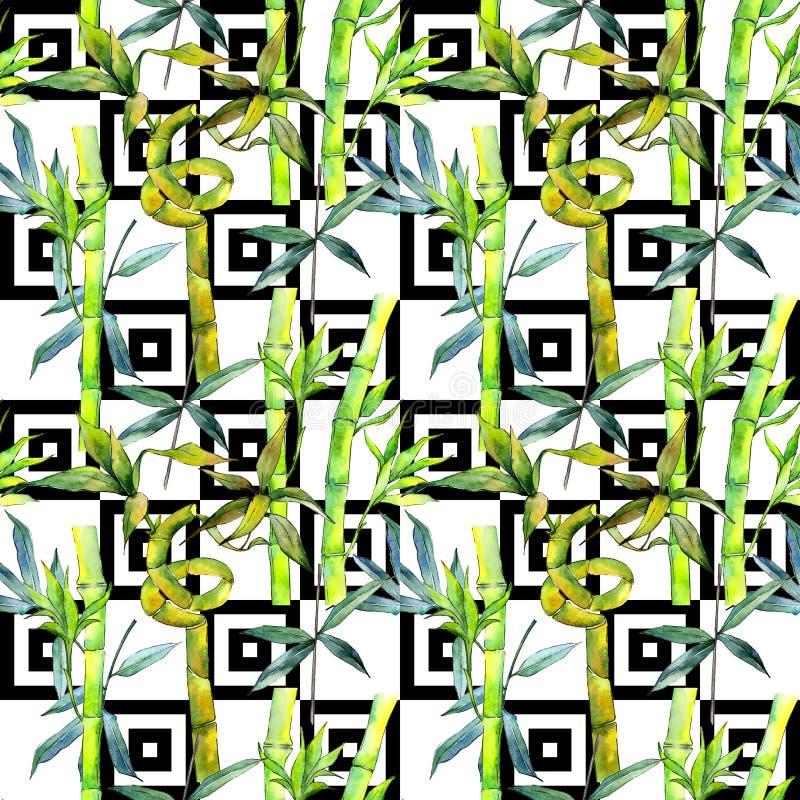 Tropikalny bambusowy drzewo wzór w akwarela stylu ilustracji