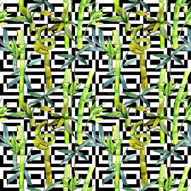 Tropikalny bambusowy drzewo wzór w akwarela stylu royalty ilustracja