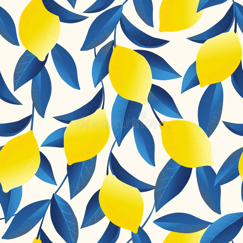 Tropikalny bezszwowy wzór z żółtymi cytrynami Owoc częstotliwy tło Wektorowy jaskrawy druk dla tkaniny lub tapety royalty ilustracja