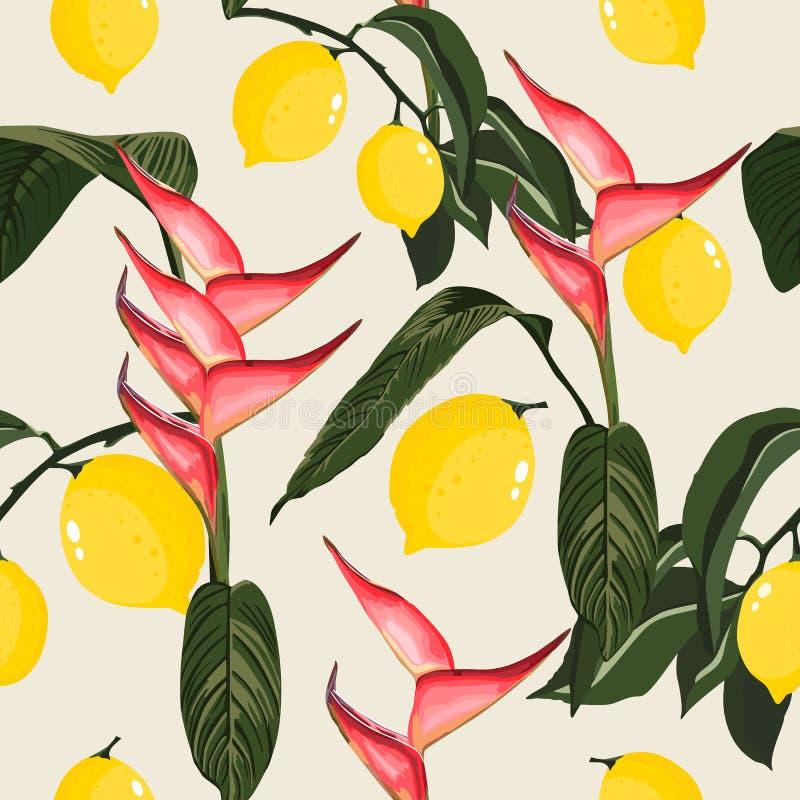 Tropikalny Bezszwowy wzór z bananami i palma liśćmi ilustracji