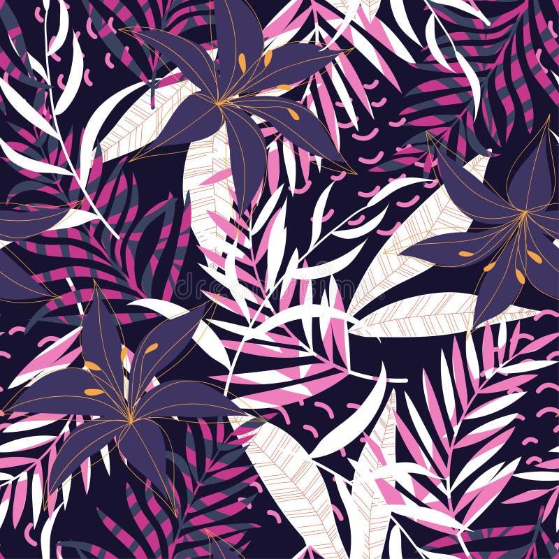 Tropikalny bezszwowy wzór z jaskrawymi roślinami i liśćmi na ciemnym tle 10 t?o projekta eps techniki wektor D?ungla druk Tkaniny ilustracji
