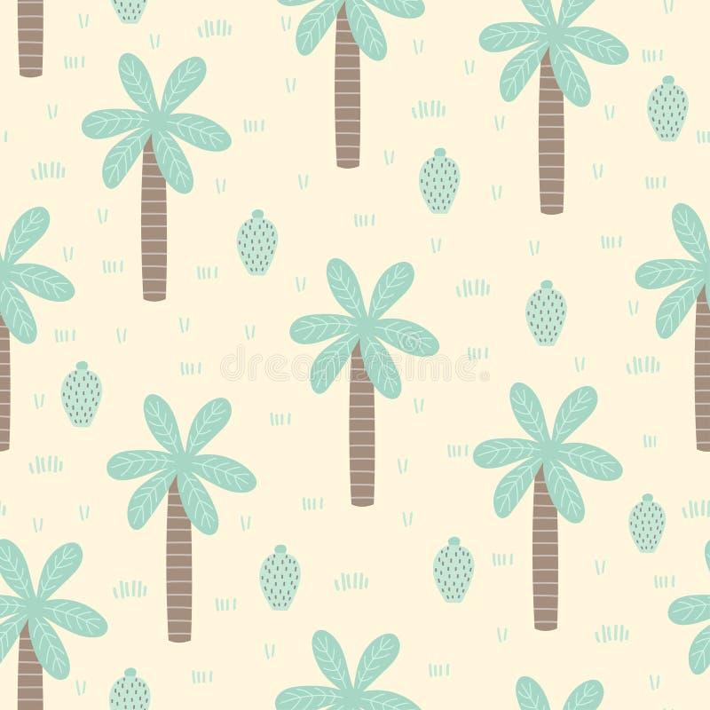 Tropikalny bezszwowy wzór z kreskówka kaktusem i palmą ilustracja wektor