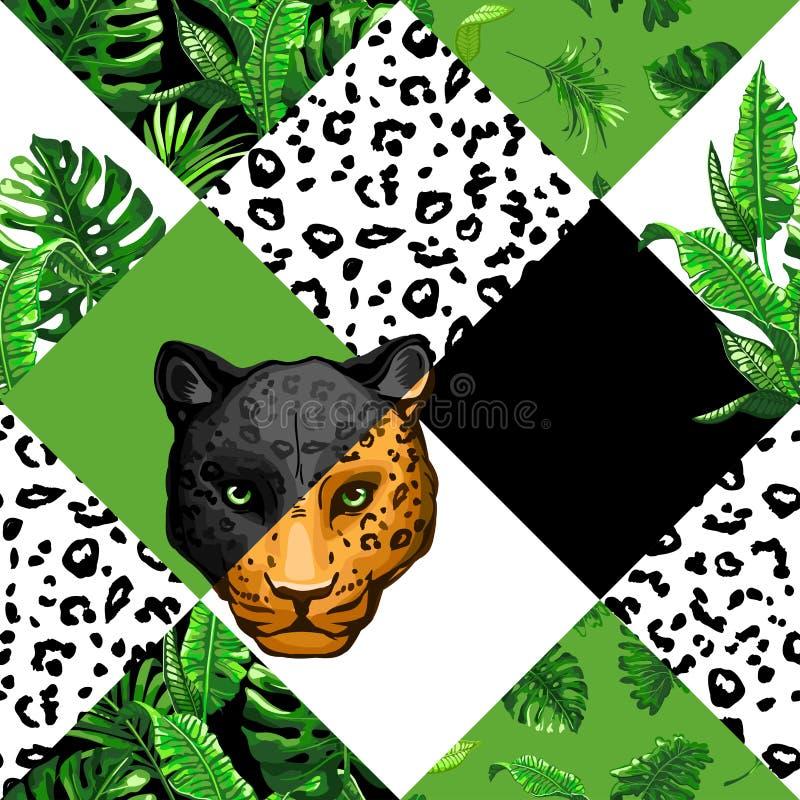 Tropikalny bezszwowy wzór z palmowymi liśćmi obrazy stock