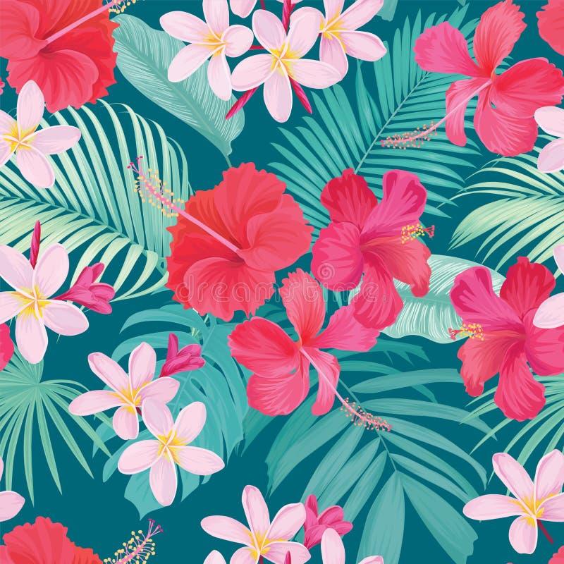 Tropikalny bezszwowy wzór z poślubnika syriacus i plumeria kwitniemy z liściem na błękitnym tle ilustracji