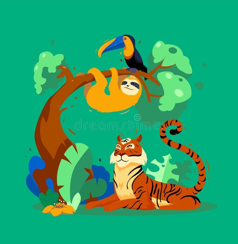 Tropikalny dżungla druk z zwierzętami ilustracji