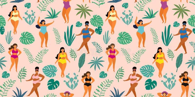 Tropikalny dżungla wzór z dziewczynami w lat swimsuits Ciało pozytyw tekstura bezszwowy wektor ilustracji