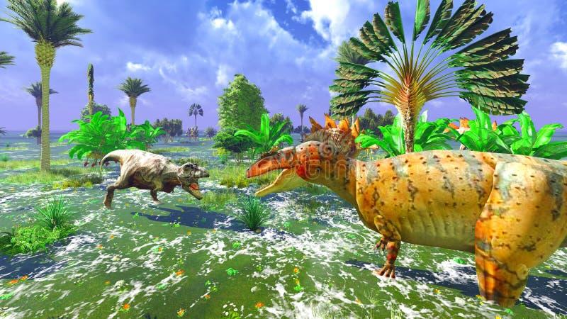 Tropikalny dinosaura park ilustracja wektor