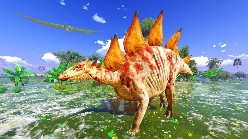 Tropikalny dinosaura park royalty ilustracja