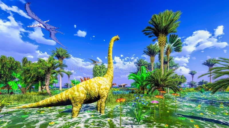 Tropikalny dinosaura park ilustracji