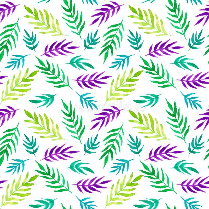Tropikalny druk Akwareli kolorowe rośliny ilustracji