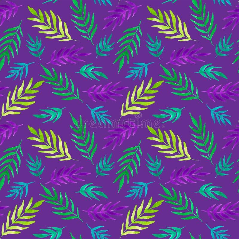 Tropikalny druk Akwareli kolorowe ro?liny bezszwowy wzoru royalty ilustracja