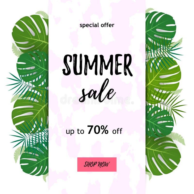 Tropikalny dyskontowy tło Plakat z palmowymi liśćmi, dżungla liściem i handwriting literowaniem, dodatkowy tło błękitny motylami  royalty ilustracja