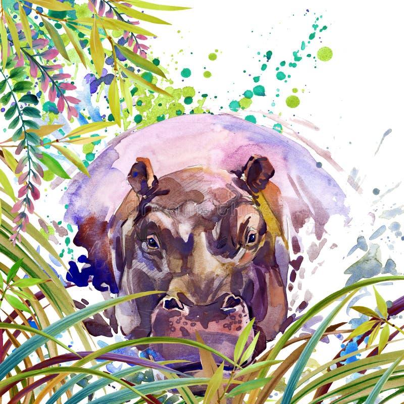 Tropikalny egzotyczny las, zieleni liście, przyroda, hipopotam, akwareli ilustracja akwareli tła niezwykła egzotyczna natura ilustracja wektor