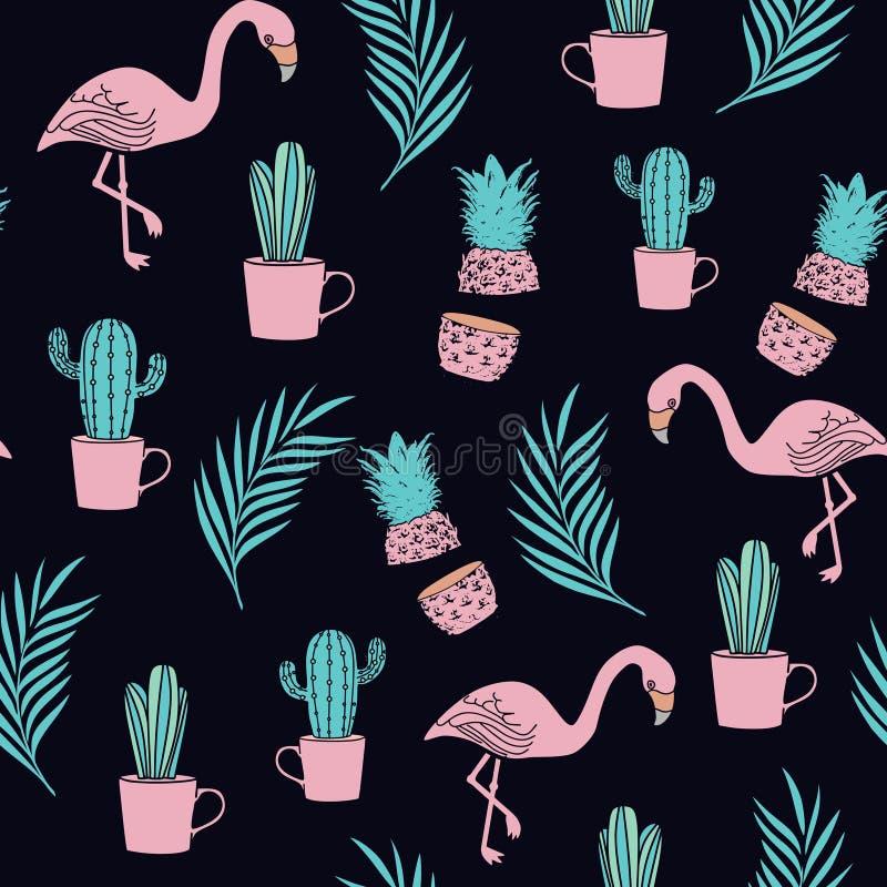 Tropikalny flaminga wzór z egzot plaży lata tematem na ciemnej tło wektoru ilustracji ilustracji