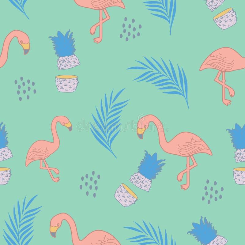 Tropikalny flaminga wzór z egzot plaży lata tematu wektoru ilustracją ilustracja wektor