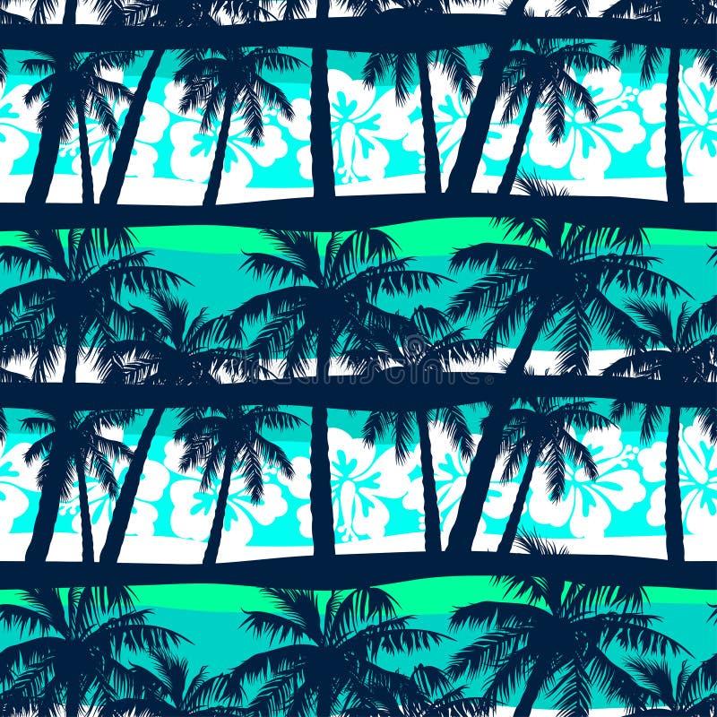 Tropikalny frangipani z palma bezszwowym wzorem royalty ilustracja