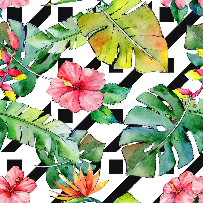Tropikalny Hawaje liści wzór w akwarela stylu royalty ilustracja