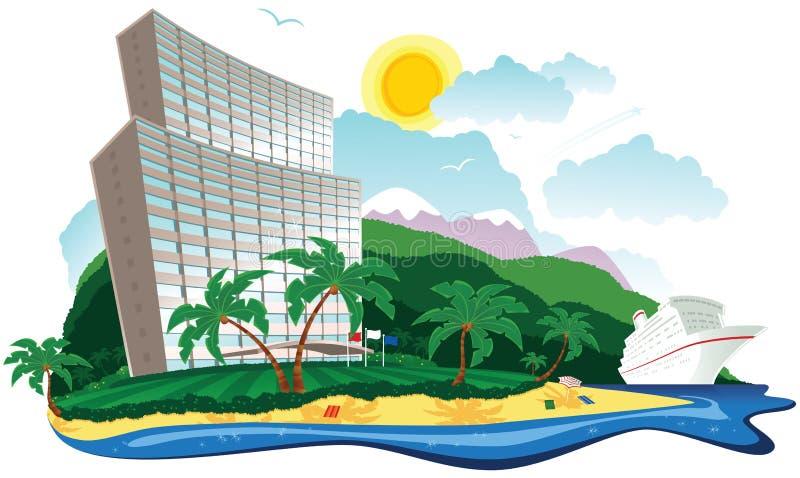 Tropikalny hotelowy wakacje royalty ilustracja