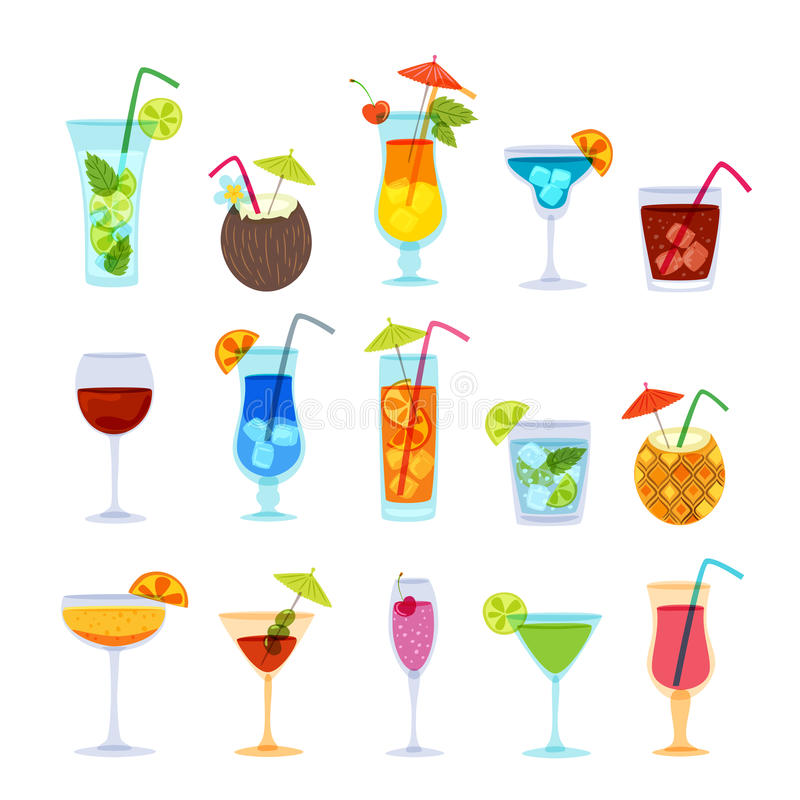 Tropikalny koktajli/lów, soku, wina i szampana szkła set, Wektorowa ręka rysująca doodle ilustracja ilustracji