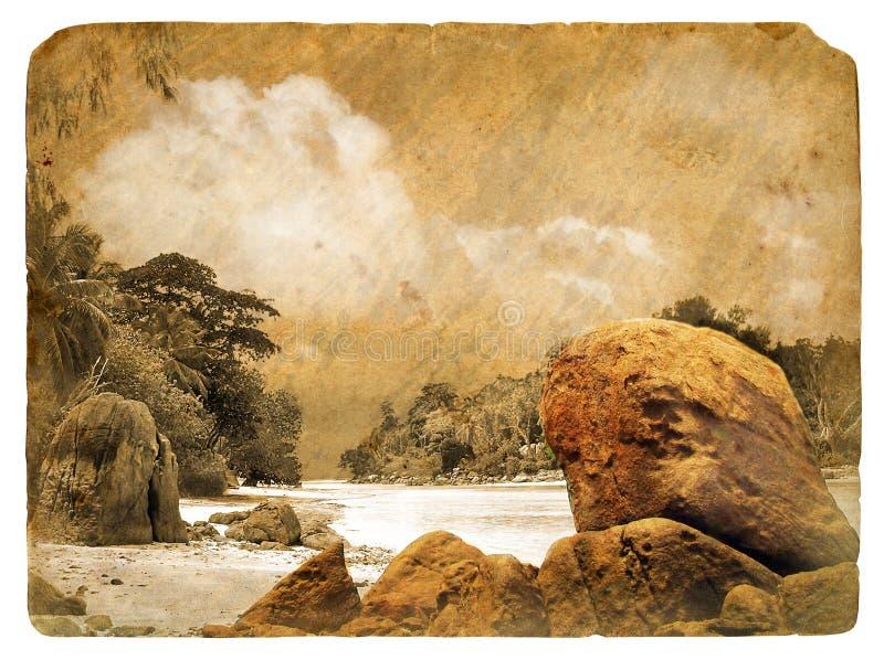 Tropikalny krajobraz, Seychelles. Stara pocztówka. ilustracja wektor
