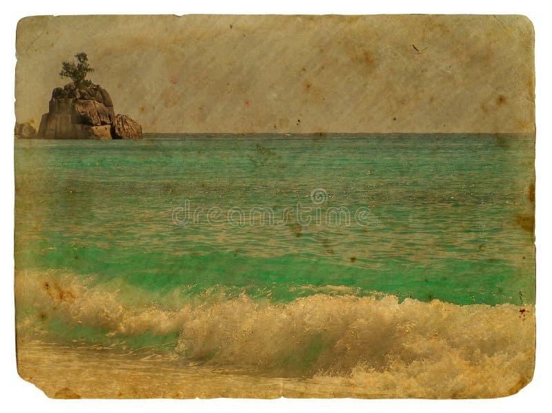 Tropikalny krajobraz, Seychelles. Stara pocztówka. ilustracji